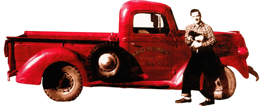 George Navo and the original plumbing truck in 1959